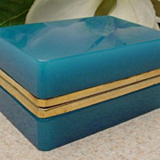 SOLD Antique Blue Opaline Hinged Box
