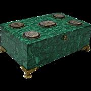 "SALE 16"" Antique  French  Malachite Hinged Box  ""5 Micro Mosaic Plaques"""