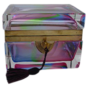 Antique French Rainbow Crystal Hinged Box