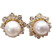 Magnificent Diamond and 10mm  Cultured Pearl Earrings