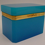 SOLD Magnificent Large Antique French Turquoise Opaline Casket Hinged Box