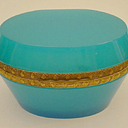 SOLD Magnificent Antique Turquoise French Opaline Oval Hinged Box