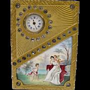 "SALE Glorious Antique Jeweled Vienna Enamel Clock ""Two Winged Cherubs"""