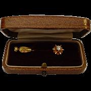 Antique 14 Karat  .25 Carat 4mm Diamond Stick Pin