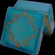 SALE Stunning Antique French Blue Opaline Casket