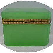 SOLD Rare Antique French Green Jewelry Casket Box