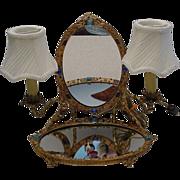 SALE Rarest Antique  Austrian Jeweled Vanity w Twin Lamps