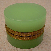 "SOLD Antique French Green Opaline Hinged  Box ""Fancy Gilt Mounts"""