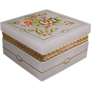 "Antique French Square White Opaline Hinged Box  ""GRANDEST FLOWERS"""