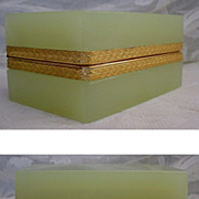 "SOLD Antique French Lime Green Opaline Hinged Box  ""RARE COLOR"""
