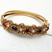 SALE Hinged Bangle Bracelet With Stones of Red, Black and Faux Pearls