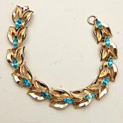 SALE Coro Signed Aqua Rhinestone Bracelet