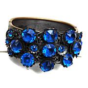 SALE Blue Stone Czech Chased Hinged Bracelet