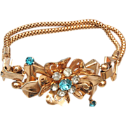 SALE Coro With Pegasus Aqua Rhinestone Bracelet