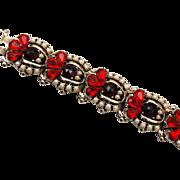 SALE Red and Rose Cut Garnet Colored Rhinestone Bracelet