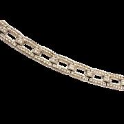 SALE Art Deco Pave' Rhinestone Bracelet - Rhodium Plated Back
