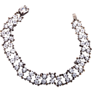 SALE Sterling and Bezel Set Crystal Bracelet - Beautiful!