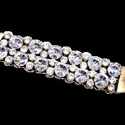 "SALE Magnificent Rivoli Crystal Bracelet - 1-1/2"" Wide"