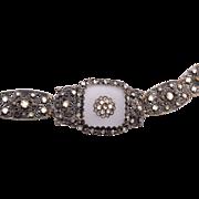 SALE Camphor Glass Bracelet - Silver Filigree and Rhinestones