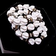 SALE White Glass and Rhinestone Memory Wire Bracelet