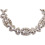 SALE Art Deco Pot Metal Rhinestone Bracelet – 8-1/4""