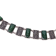 SALE Sterling Bracelet With Jade Masks - Small