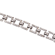 "SALE Art Deco Pot Metal Rhinestone Bracelet 6-3/4"""