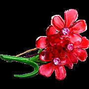 SALE Resin and Enamel 3 Flower Brooch