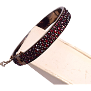 SALE Victorian 3 Row Bohemian Garnet Hinged Bangle Bracelet