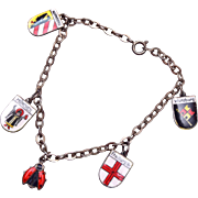 SALE 800 Silver and Enameled German Shield Charm Bracelet