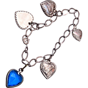 SALE I Love U Puffy Heart Sterling Charm Bracelet