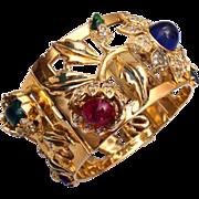 SALE 1939 Rare Coro Craft Camellia Bangle Bracelet