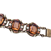 SALE Gorgeous Enameled and Unfoiled Brown Rhinestone Bracelet