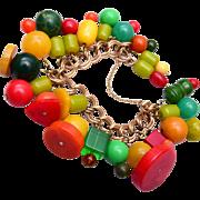 SALE Colorful Bakelite Beaded Krementz Charm Bracelet