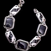 SALE Black and White Enamel and Onyx Bracelet