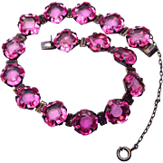 Pink Open Backed Crystal in Sterling Setting Bracelet