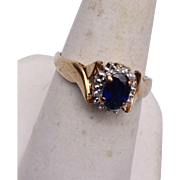 SALE 10kt  Gold and Sapphire Ring 7-3/4