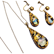 Gold Flecks and Opal Confetti Lucite Set