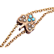 SALE Gold Filled Turquoise and Seed Pearl 3 Leaf Clover Slide Necklace