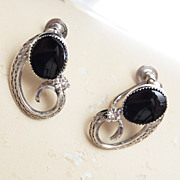 SALE Sterling and Onyx Earrings