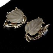 SALE Coro Molded Glass Glowing Leaf Earrings