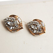 SALE Crown Trifari Patent Pending Goldtone and Rhinestone Earrings