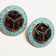 SALE Blue Enamel and Rose Cut Crystal Rhinestone Earrings