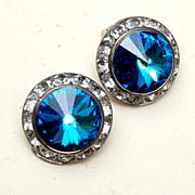 SALE Blue Rivoli Crystal and Channel Set Rhinestone Earrings