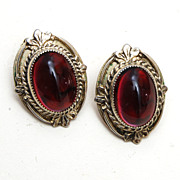 SALE Whiting and Davis Red Stone Earrings