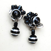 SALE Faceted Black Glass Earrings Lustered in Silver