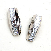 SALE Whiting and Davis Silver Tone Earrings With Rhinestones