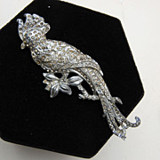 SALE Large Pot Metal and Rhinestone Cockatoo Brooch