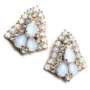 SALE White Jelly and Rhinestone Earrings
