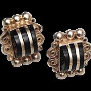 SALE Sterling and Onyx Pierced Earrings